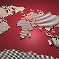 World Map in Red Print by Michael Tompsett