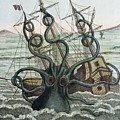 1815 Collosal Polypus Octopus And Ship Print by Paul D Stewart