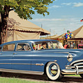 1951 Hudson Hornet fair americana antique car auto nostalgic rural country scene landscape painting Poster by Walt Curlee