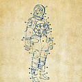 1973 Astronaut Space Suit Patent Artwork - Vintage Poster by Nikki Marie Smith