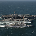 Underway Replenishment At Sea With U.s Poster by Stocktrek Images