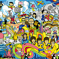 70 illustrated Beatles' song titles Poster by Ron Magnes