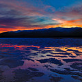 A Death Valley Sunset in the Badwater Basin Print by Kim Michaels