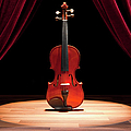 A Double Bass On A Theatre Stage Print by Caspar Benson