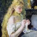 A Girl Crocheting by Pierre Auguste Renoir