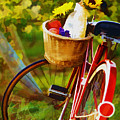 A Loaf of Bread a Jug of Wine and a Bike Poster by Elaine Plesser
