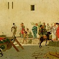 A Roman Street Scene with Musicians and a Performing Monkey Print by Modesto Faustini