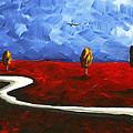 Abstract Art Original Landscape Painting WINDING ROAD by MADART Print by Megan Duncanson