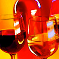Abstract Bottle of Wine and Glasses of Red and White Print by Elaine Plesser