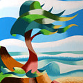 Abstract Rough Futurist Cypress Tree Poster by Mark Webster