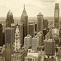 Aerial View Philadelphia Skyline Wth City Hall Poster by JACK PAOLINI