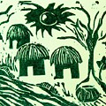 African Huts Print by Caroline Street