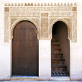 Alhambra door and stairs Print by Jane Rix