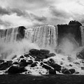 american and bridal veil falls with luna island and deposited talus niagara falls new york state usa Print by Joe Fox