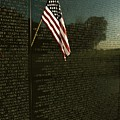 American Flag Left At The Vietnam Print by Medford Taylor