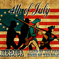American revolution soldier marching Print by Aloysius Patrimonio