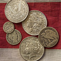 American Silver Coins Print by Randy Steele