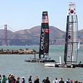 America's Cup Racing Sailboats in The San Francisco Bay - 5D18253 Print by Wingsdomain Art and Photography