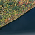 An Aerial View Of A Forest In Autumn Print by Heather Perry