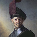 An Old Man in Military Costume Print by Rembrandt