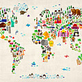 Animal Map of the World for children and kids Print by Michael Tompsett