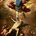 Archangel Michael overthrows the rebel angel Poster by Luca Giordano