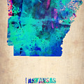 Arkansas Watercolor Map Print by Naxart Studio