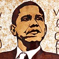 Barack Obama Words of Wisdom coffee painting Print by Georgeta  Blanaru