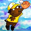Baseball Dog 4 Print by Scott Nelson