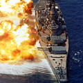 Battleship Uss Iowa Firing Its Mark 7 Poster by Stocktrek Images