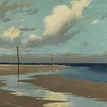 Beach at Low Tide Print by Frederick Milner