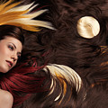 Beautiful Woman with Colorful Hair Extensions Poster by Oleksiy Maksymenko