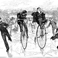 BICYCLES ON ICE, 1881 Print by Granger