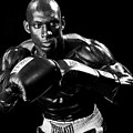 Black Boxer in Black and White 07 Print by Val Black Russian Tourchin