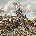 Black troops of the Fifty Fourth Massachusetts Regiment during the assault of Fort Wagner Print by American School
