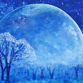 Blue Night Moon Print by Ashleigh Dyan Bayer