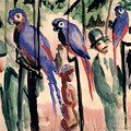 Blue Parrots Poster by August Macke