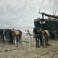 Boat on the Beach at Scheveningen Poster by Anton Mauve