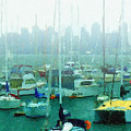 Boats In The Bay Print by Russ Harris