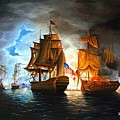 Bonhomme Richard engaging The Serapis in Battle Print by PAUL WALSH