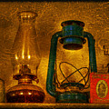 Bottles and Lamps Print by Evelina Kremsdorf