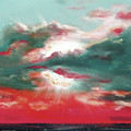 Bound of Glory 2 - Square Sunset Painting Print by Gina De Gorna