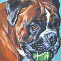 boxer tennis Print by Lee Ann Shepard