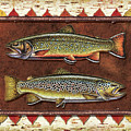Brook and Brown Trout Lodge Poster by JQ Licensing