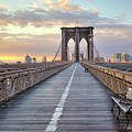 Brooklyn Bridge At Sunrise Print by Anne Strickland Fine Art Photography