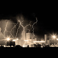 Budweiser Lightning Thunderstorm Moving Out BW Sepia Crop Poster by James BO  Insogna