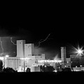 Budwesier Brewery Lightning Thunderstorm Image 3918  BW Print by James BO  Insogna