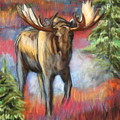 Bull Moose In Fall Poster by Tracey Hunnewell