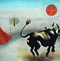 Bull with Sun Poster by Sally Appleby