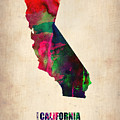 California Watercolor Map Poster by Naxart Studio